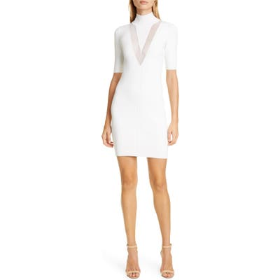 Cushnie Sheer Panel Body Con Dress, White