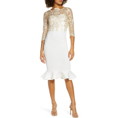 Chi Chi London Aga Lace Cocktail Dress, Ivory