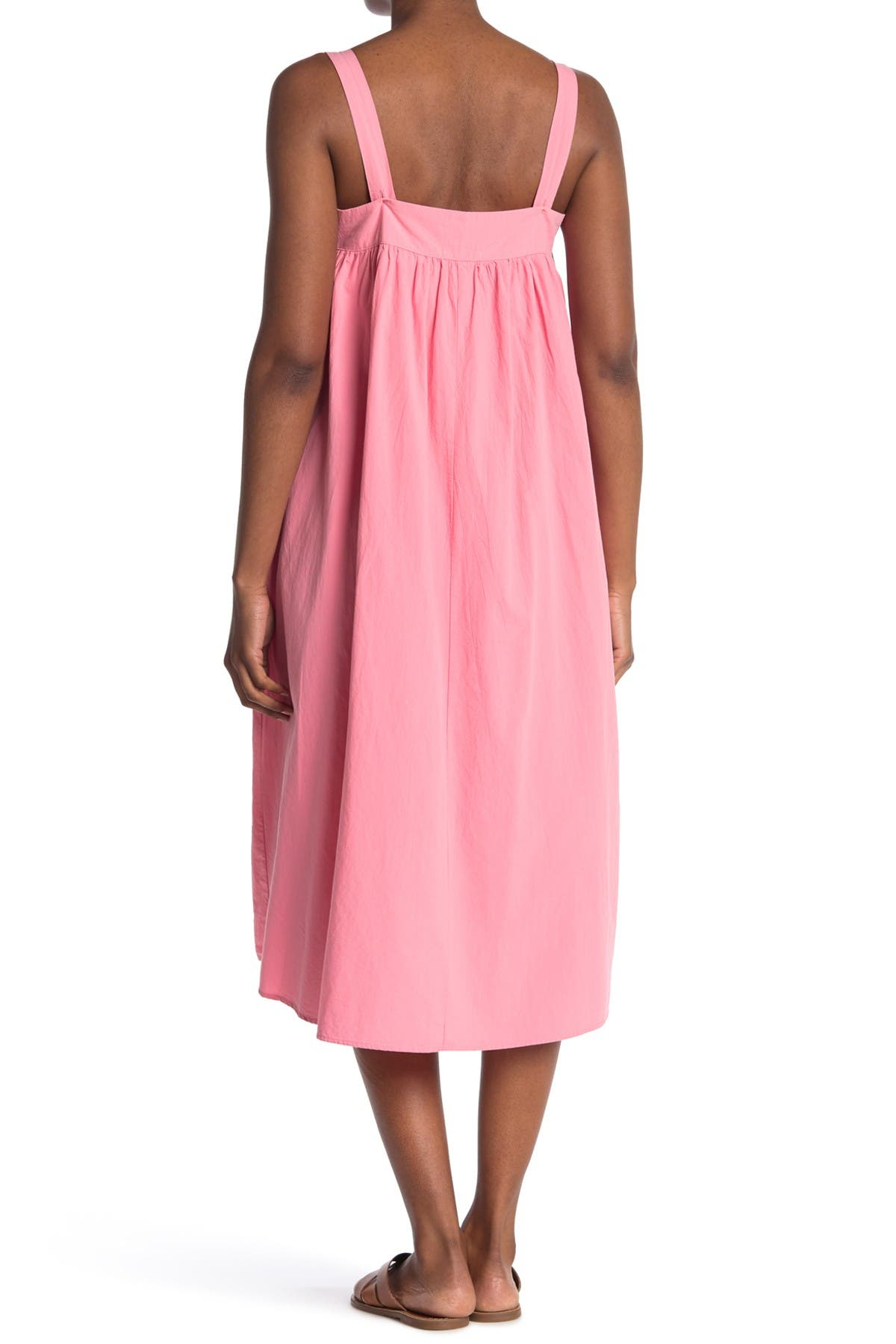 Cottagecore Clothing, Soft Aesthetic STITCHDROP Adjustable Strap Tie Front Woven Dress Size XL - Cottage Pink at Nordstrom Rack $32.97 AT vintagedancer.com