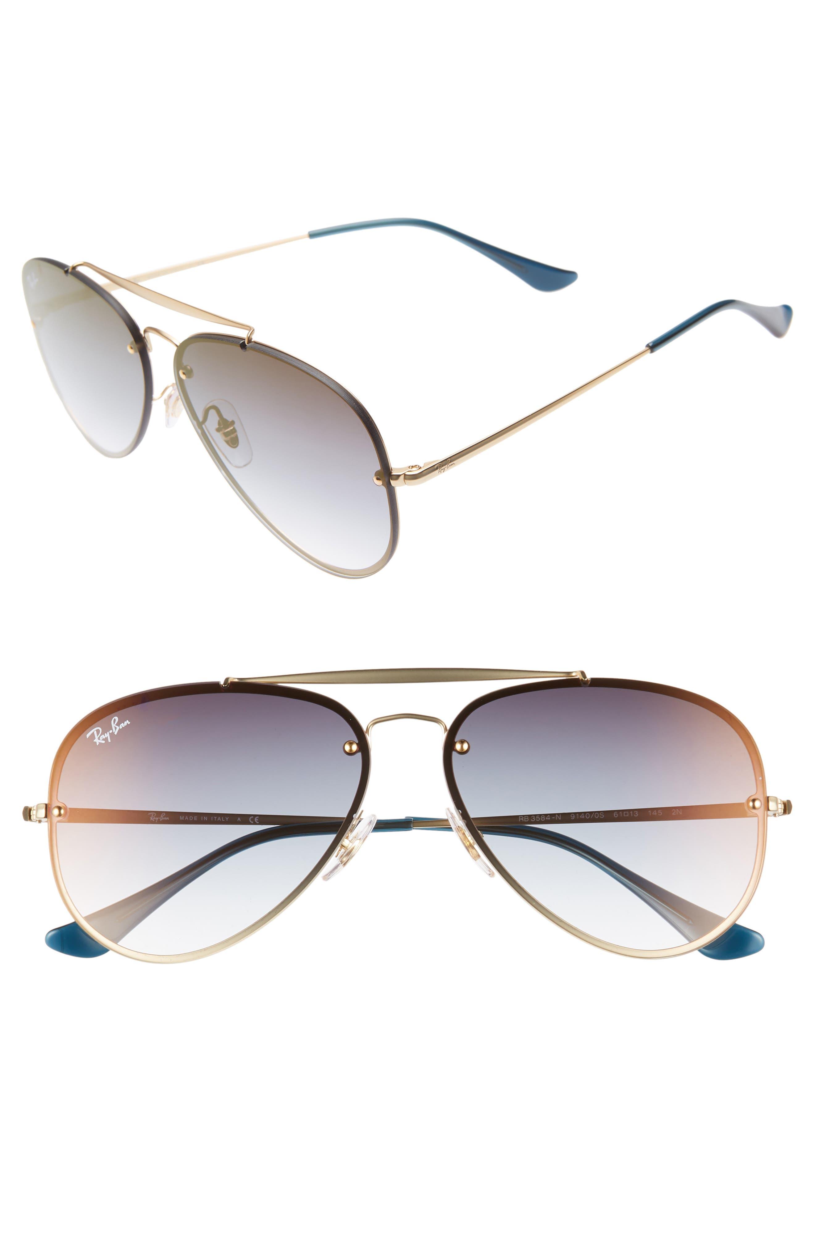 Ray-Ban 61Mm Gradient Lens Aviator Sunglasses - Gold/ Tran Blue Gradient