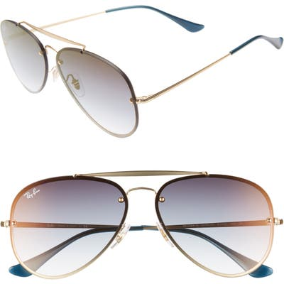 Ray-Ban 61Mm Gradient Lens Aviator Sunglasses - Gold/ Tran Blue Gradient
