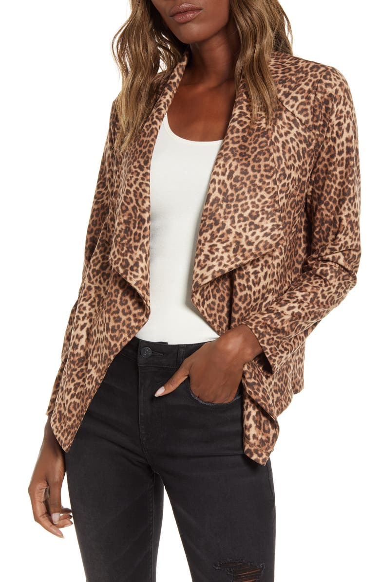 BB DAKOTA Drape Front Faux Suede Jacket, Main, color, BROWN