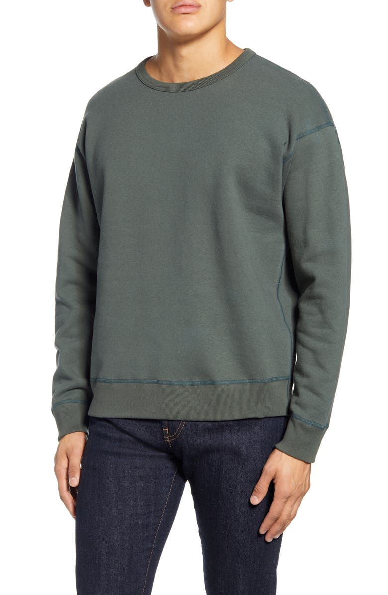 WINGS + HORNS Fleece Crewneck Sweatshirt, Main, color, PINE