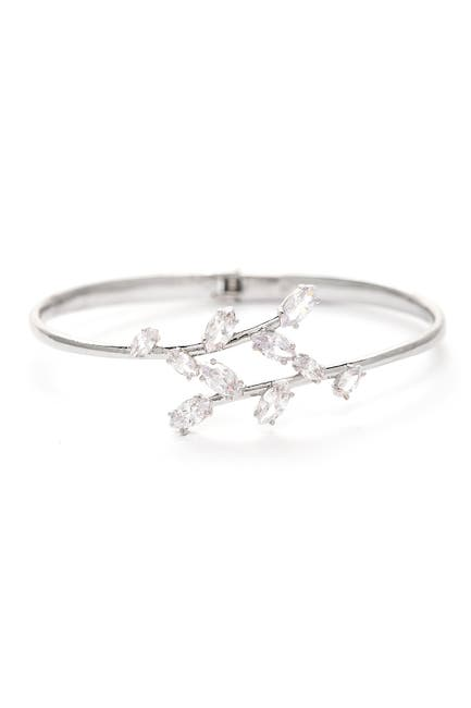 Image of Rivka Friedman White Rhodium Clad Hinged CZ Bangle