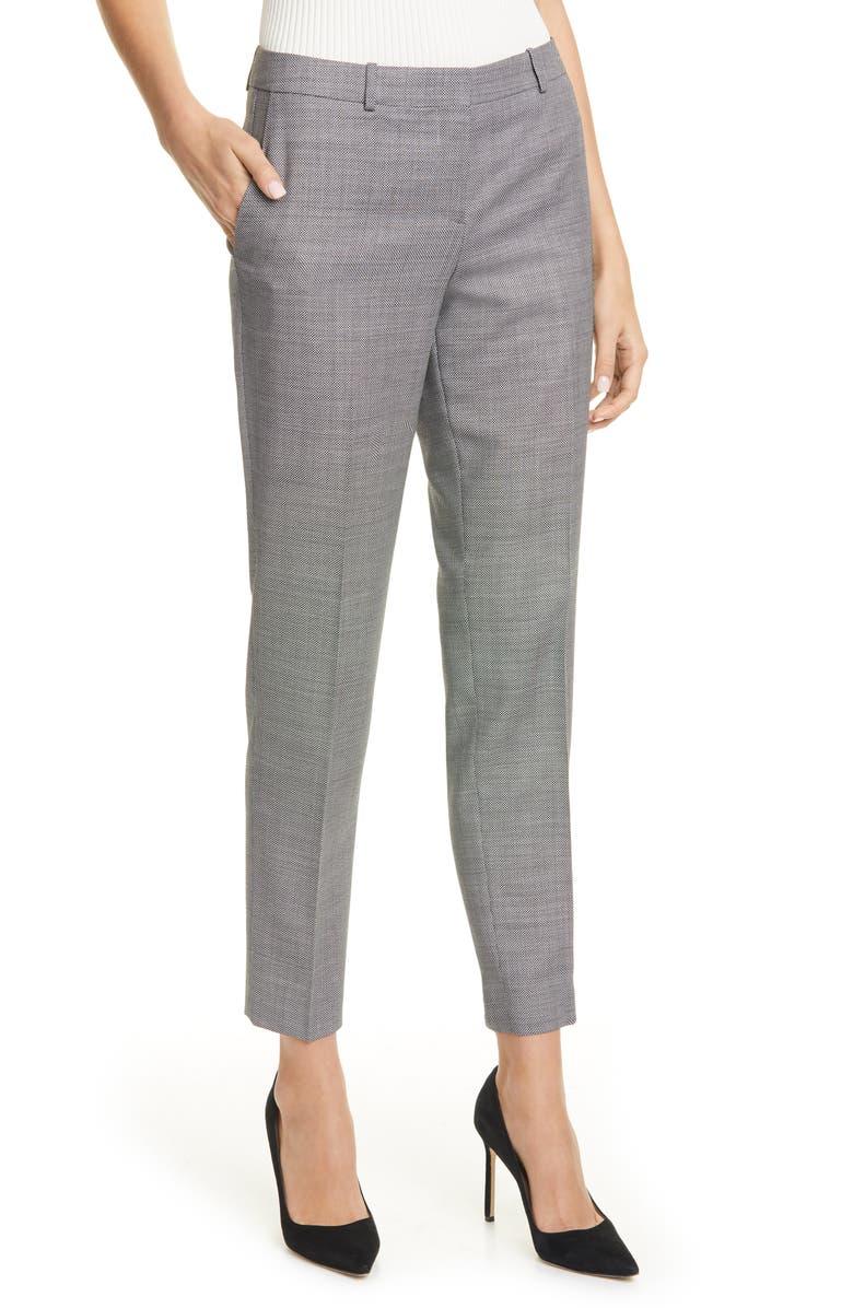 BOSS Tiluna Bird's Eye Slim Pants, Main, color, BLACK FANTASY