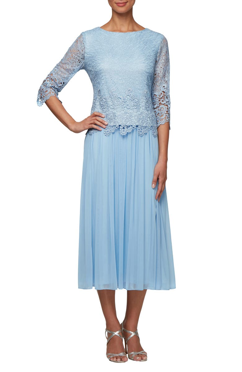 ALEX EVENINGS Lace & Tulle Popover Dress, Main, color, PERIWINKLE