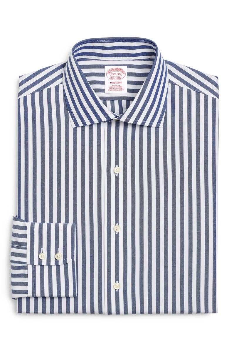 BROOKS BROTHERS Classic Fit Stripe Dress Shirt, Main, color, NAVY