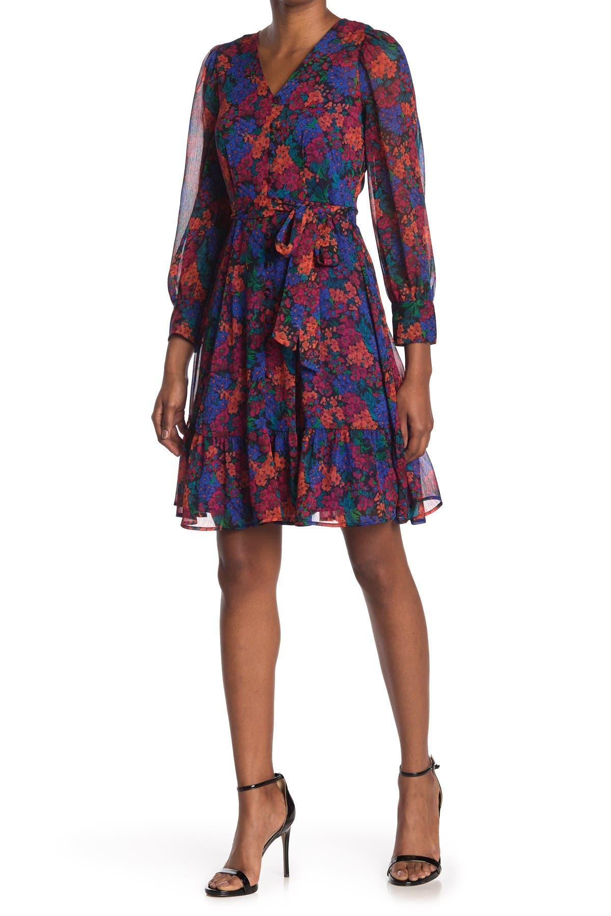 Image of Calvin Klein Floral Waist Tie Dress