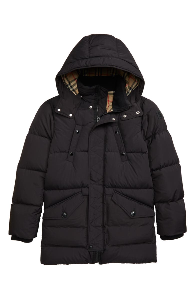 BURBERRY Ryker Hooded Quilted Down Coat, Main, color, BLACK