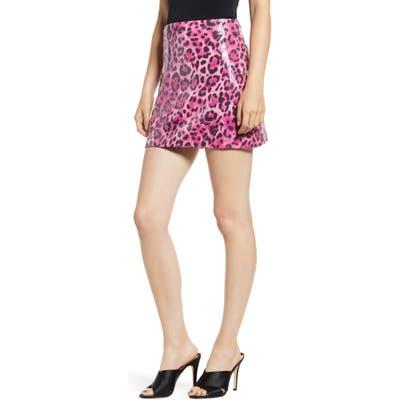 Endless Rose Allover Sequin Leopard Print Miniskirt, Pink
