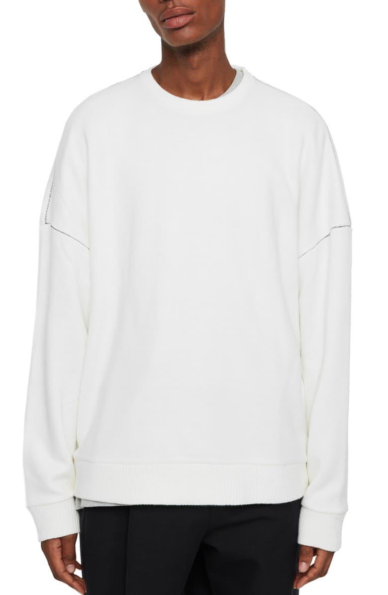 ALLSAINTS Warren Oversize Crewneck Sweater, Main, color, ECRU WHITE