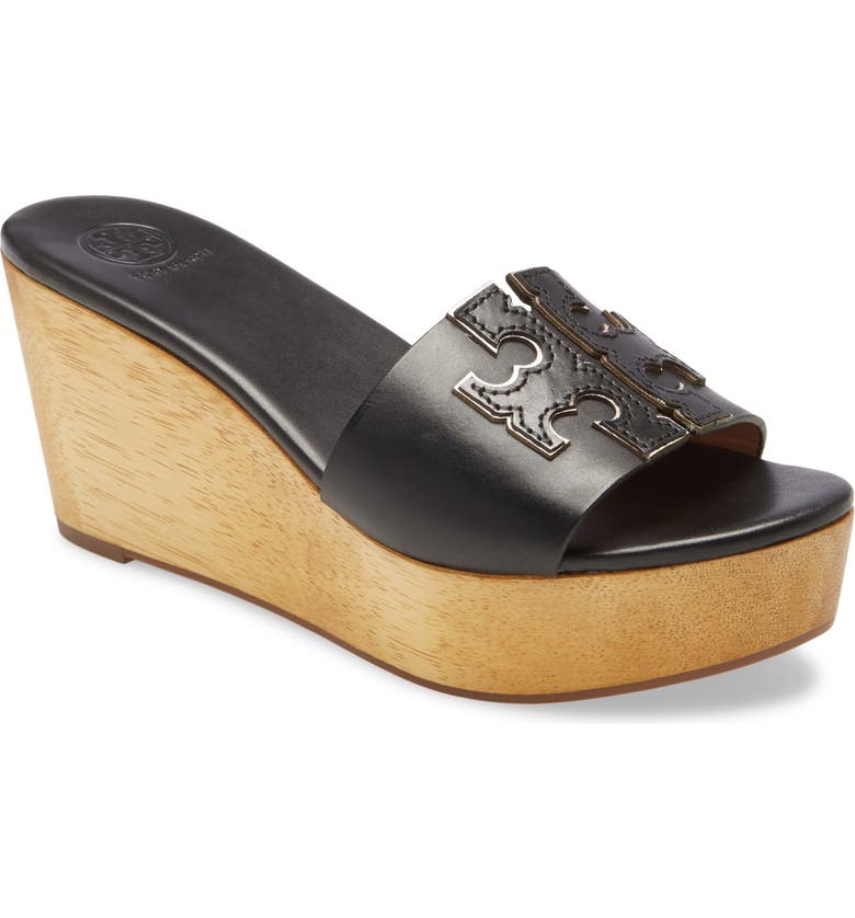 TORY BURCH Ines Wedge Slide Sandal, Main, color, PERFECT BLACK / SILVER