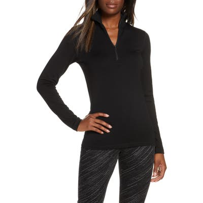 Icebreaker 260 Tech Merino Wool Half Zip Base Layer Top, Black