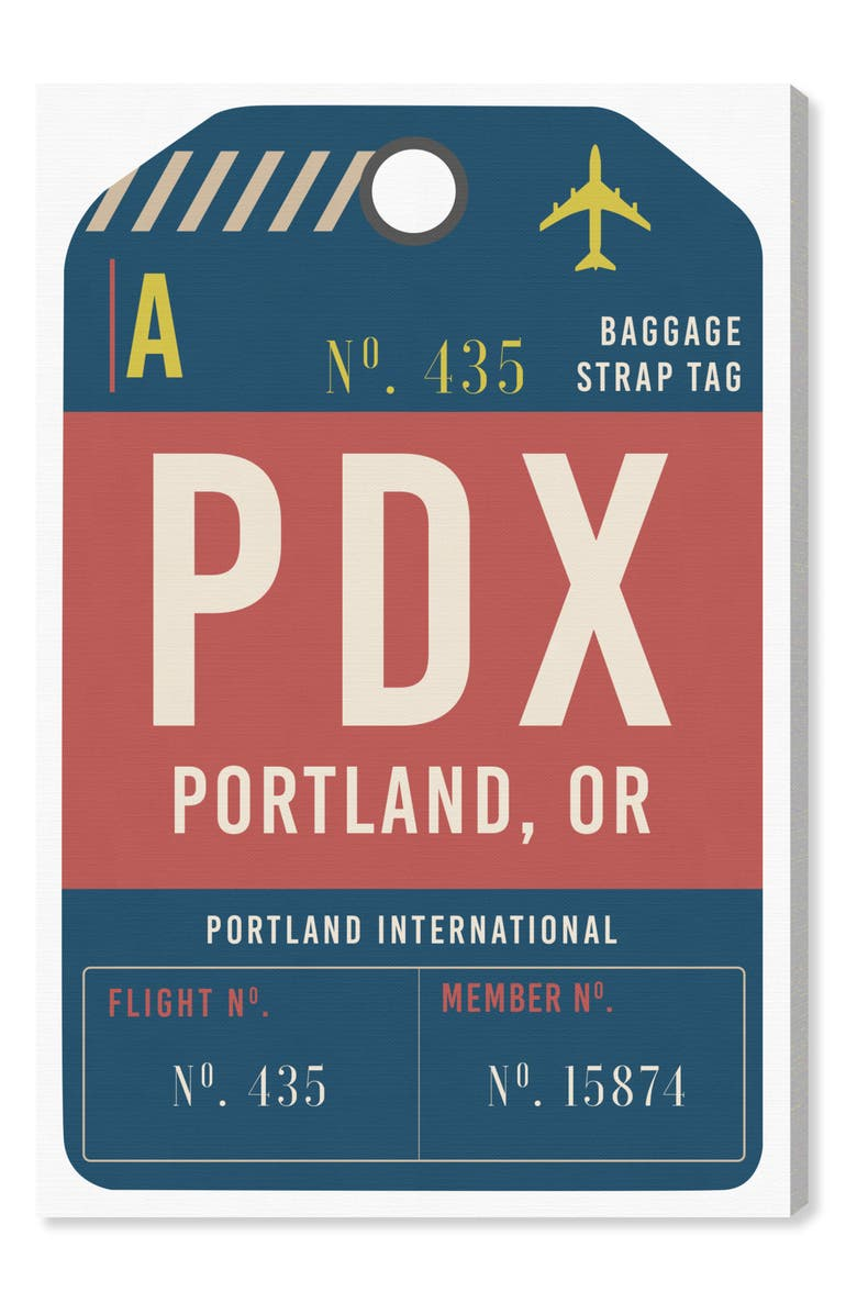 OLIVER GAL Portland Luggage Tag Wall Art, Main, color, RED