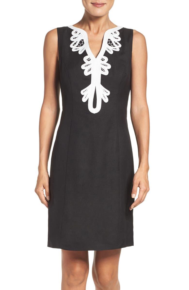 ELIZA J Embroidered Neck Sheath Dress, Main, color, BLACK