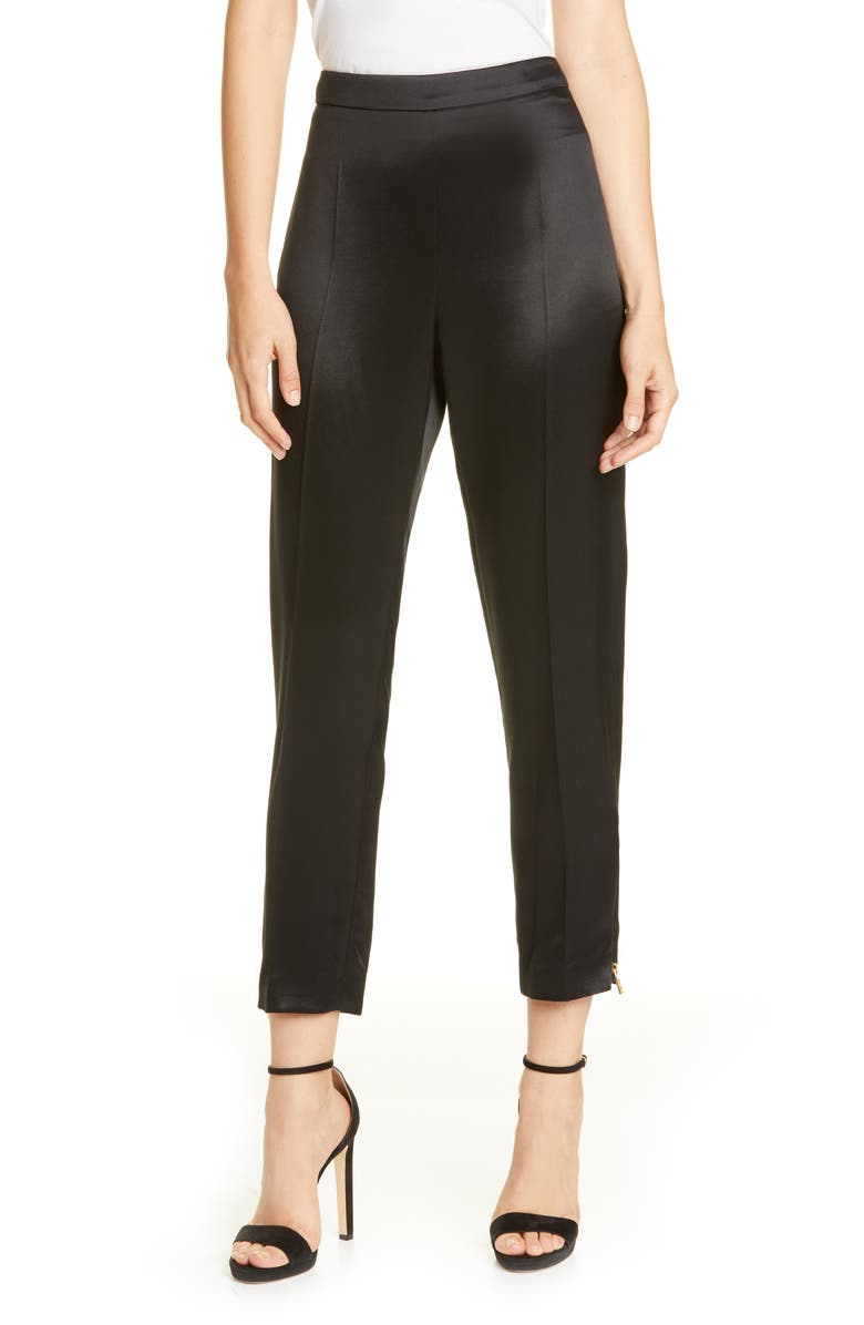 BRANDON MAXWELL Side Zip Silk Twill Cigarette Pants, Main, color, BLACK