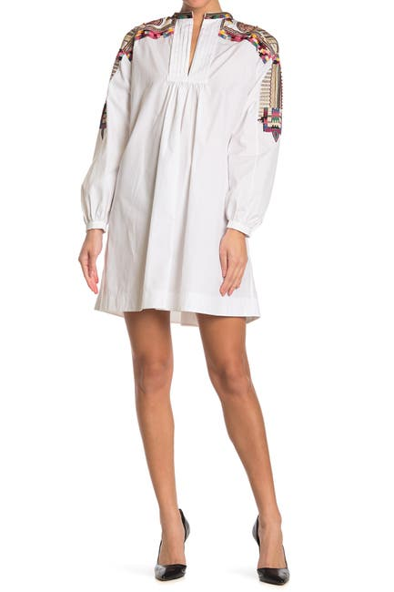 Image of Valentino Embroidered Long Sleeve Poplin Dress