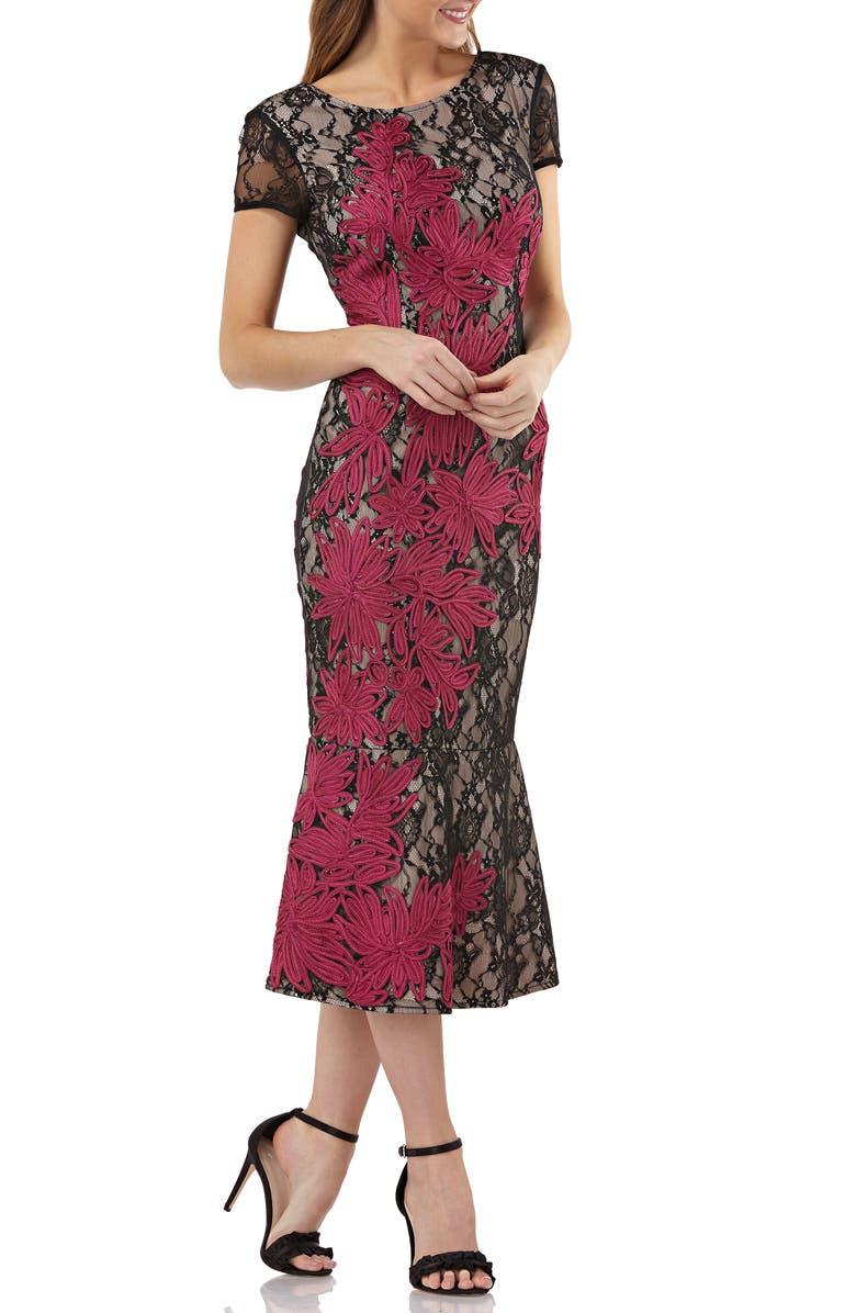 JS COLLECTIONS Soutache Embroidered Lace Midi Dress, Main, color, BLACK/ MAGENTA