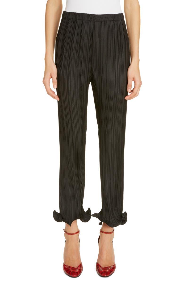 GIVENCHY Ruffle Cuff Plissé Pants, Main, color, BLACK
