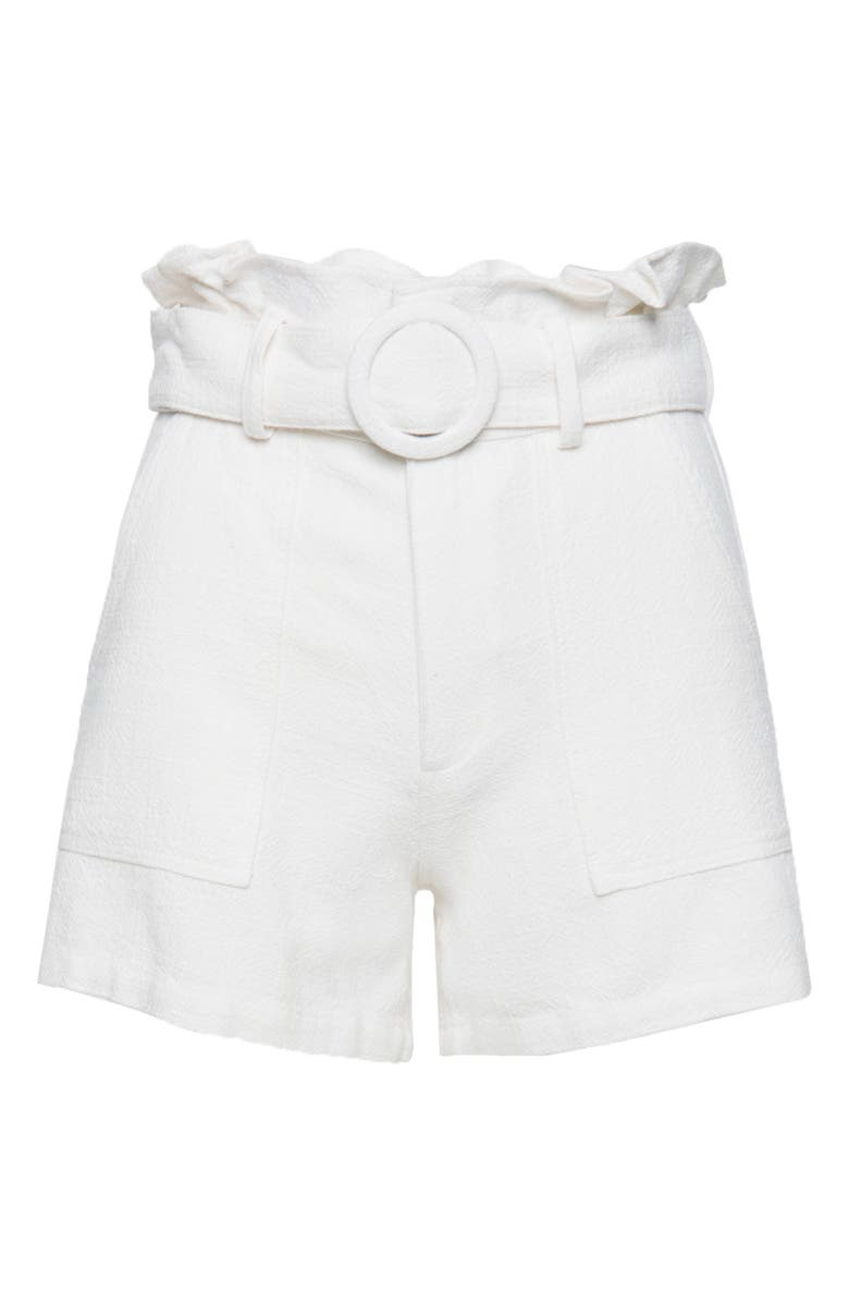 BLANKNYC Paperbag Waist Shorts, Main, color, LITTLE WHITE LIES