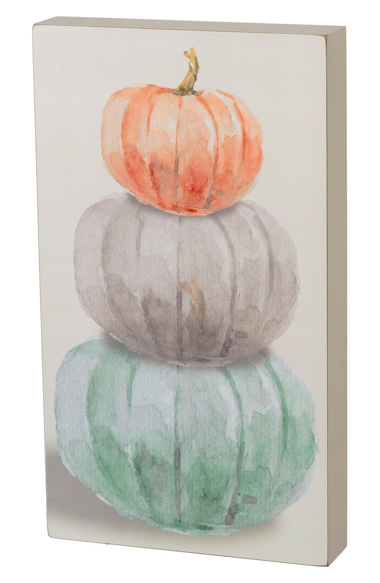 PRIMITIVES BY KATHY Pumpkins Box Sign, Main, color, IVORY