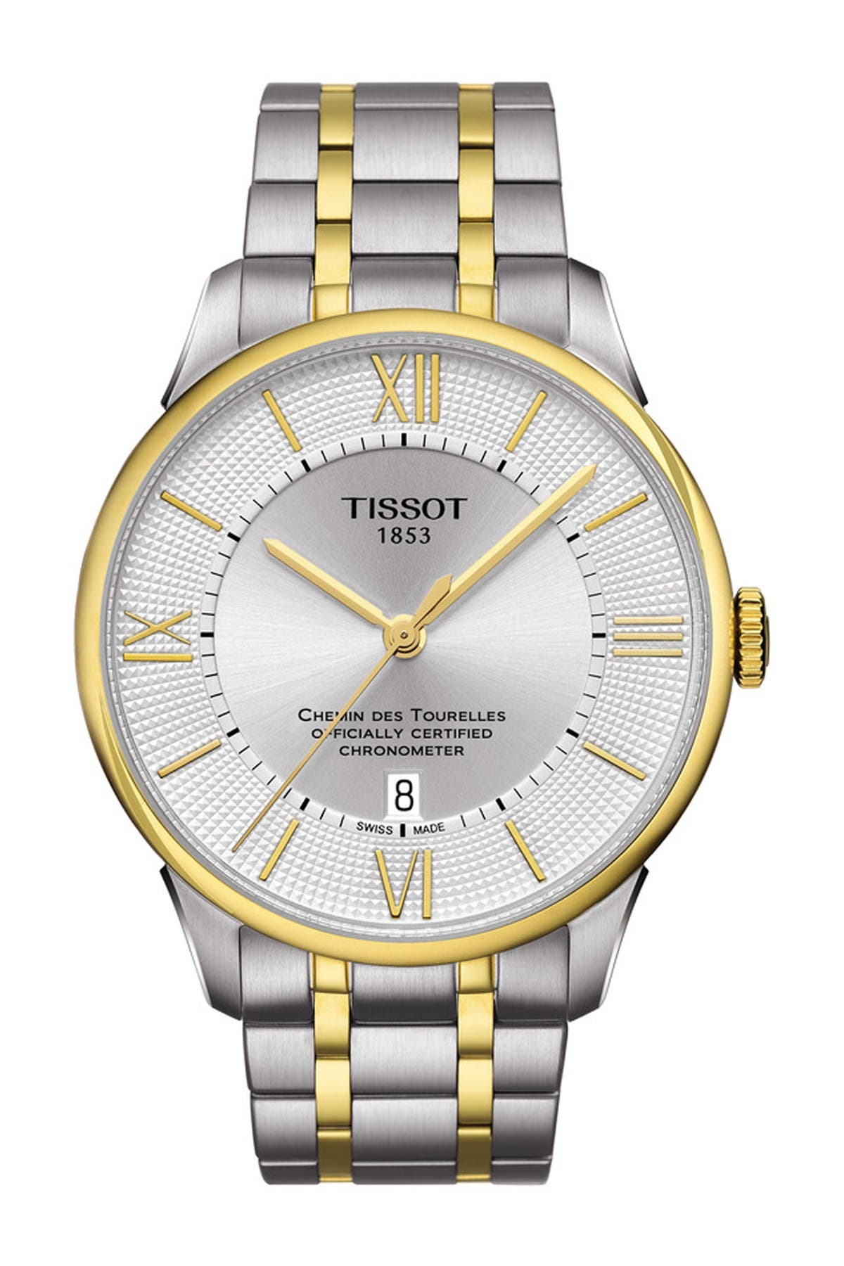 Image of Tissot Men's Chemin des Tourelles Powermatic 80 Two-Tone Bracelet Watch, 42mm