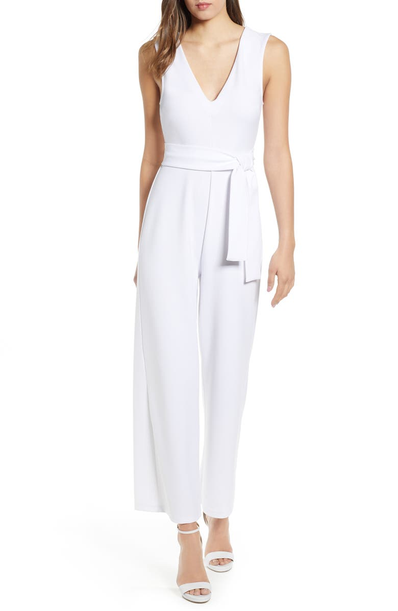 LEITH Deep V-Neck Jumpsuit, Main, color, WHITE