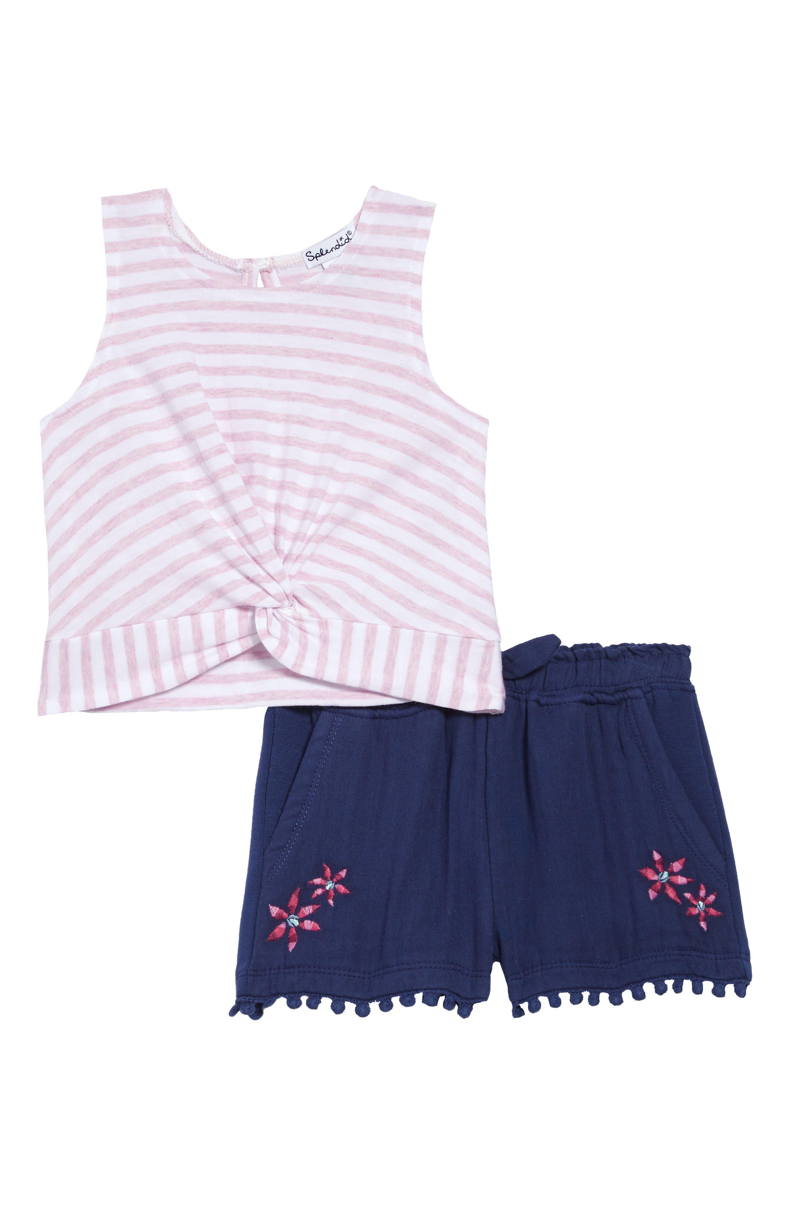 Image of Splendid Stripe Tank & Embroidered Shorts Set