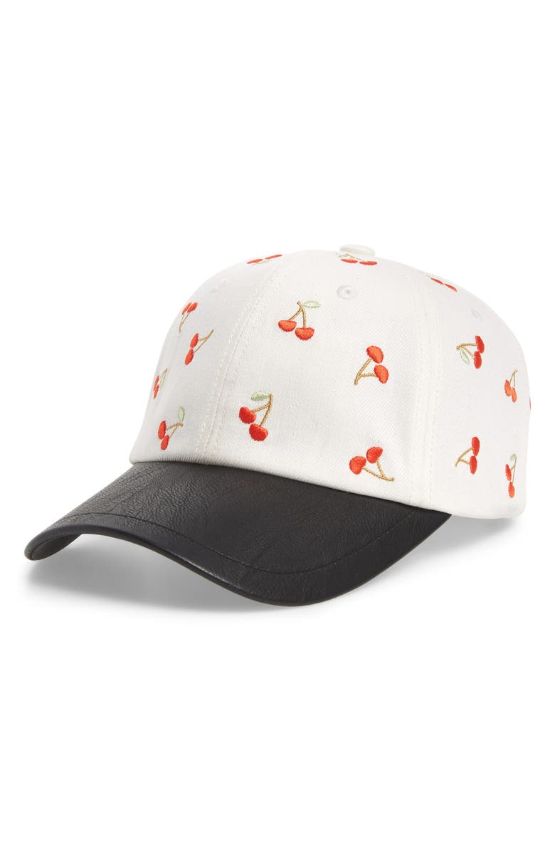 SWEAT ACTIVE Embroidered Cherries Baseball Cap, Main, color, OFF WHITE