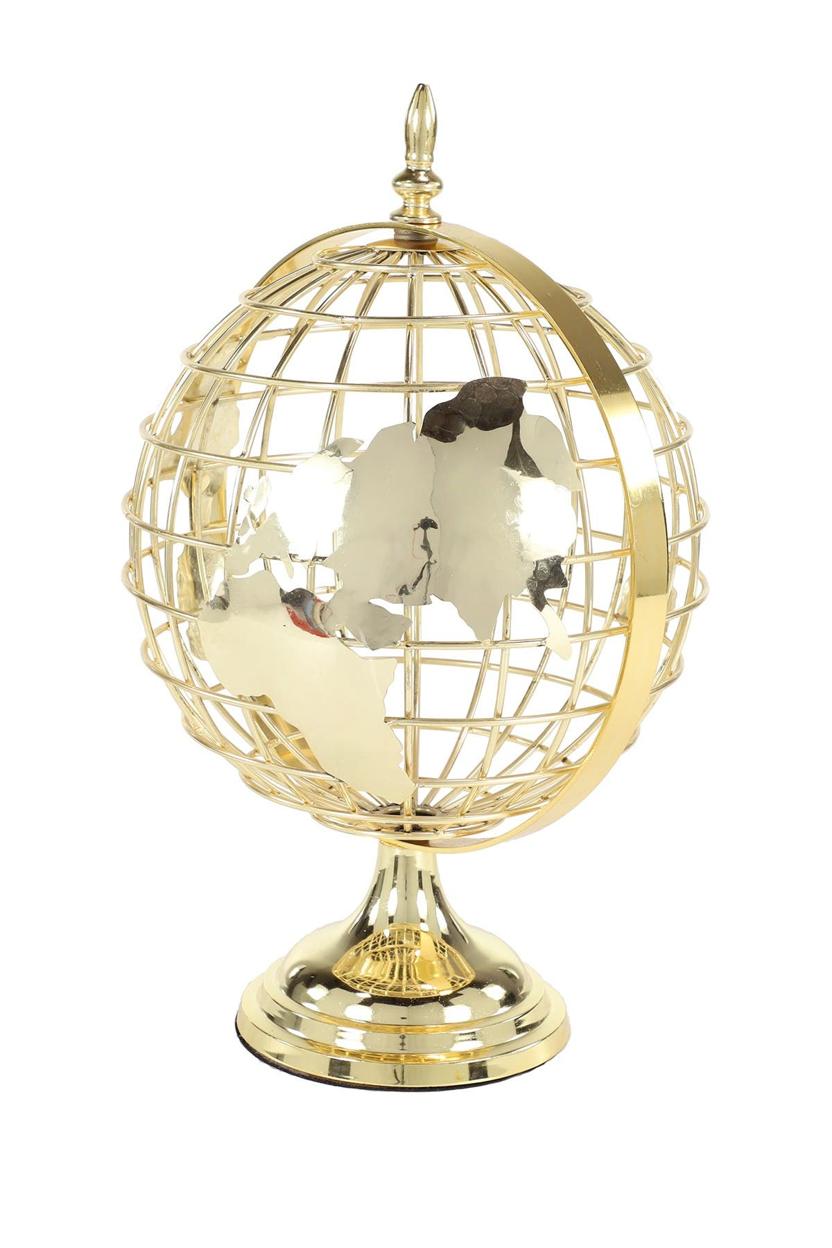 Willow Row Large Gold Metal Spinning Decorative Globe Table Decor - 13\\\