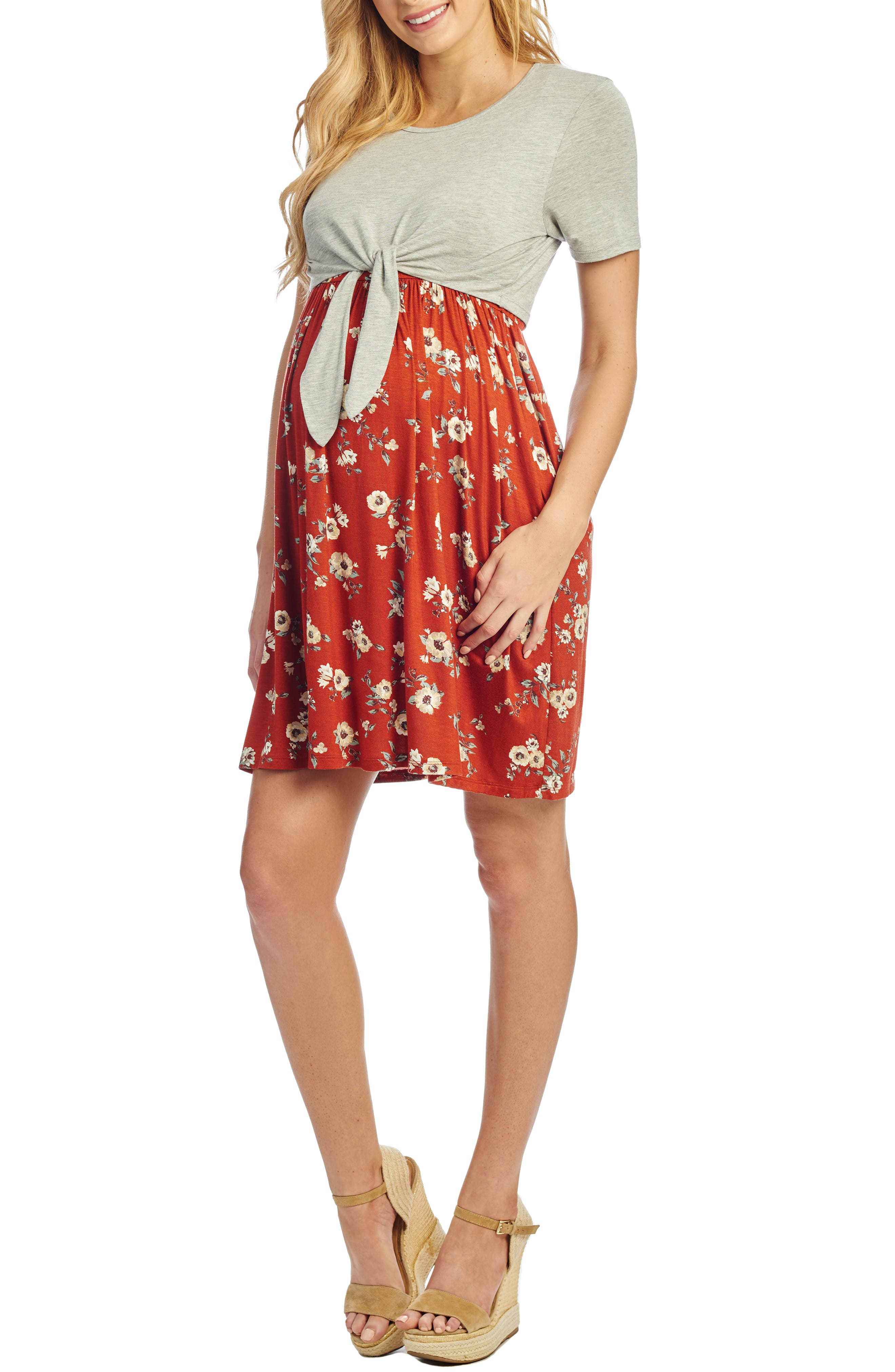 Everly Grey Lehua Maternity/nursing Babydoll Dress, Red