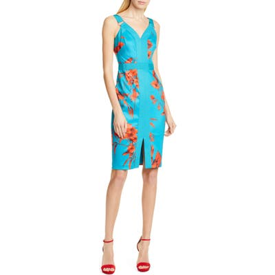 Ted Baker London Jordja Fantasia Panel Body-Con Dress, Blue