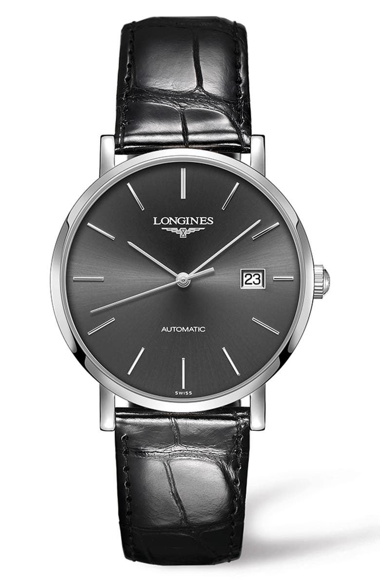 LONGINES Elegant Automatic Leather Strap Watch, 39mm, Main, color, 001