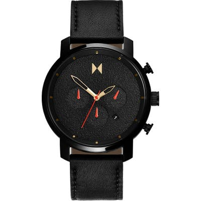 Mvmt Chrono Caviar Chronograph Leather Strap Watch, 45mm