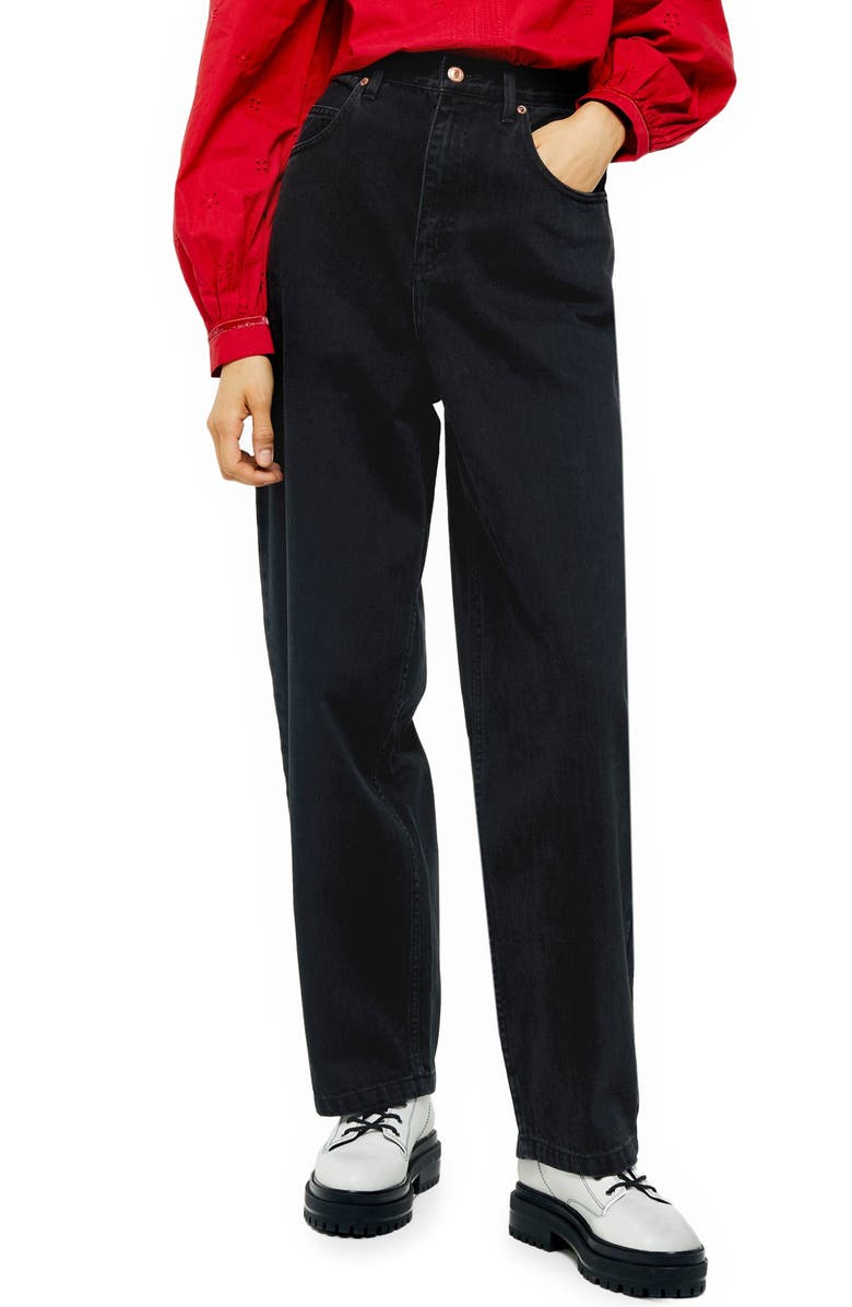 TOPSHOP Washed Black Baggy Jeans, Main, color, 003
