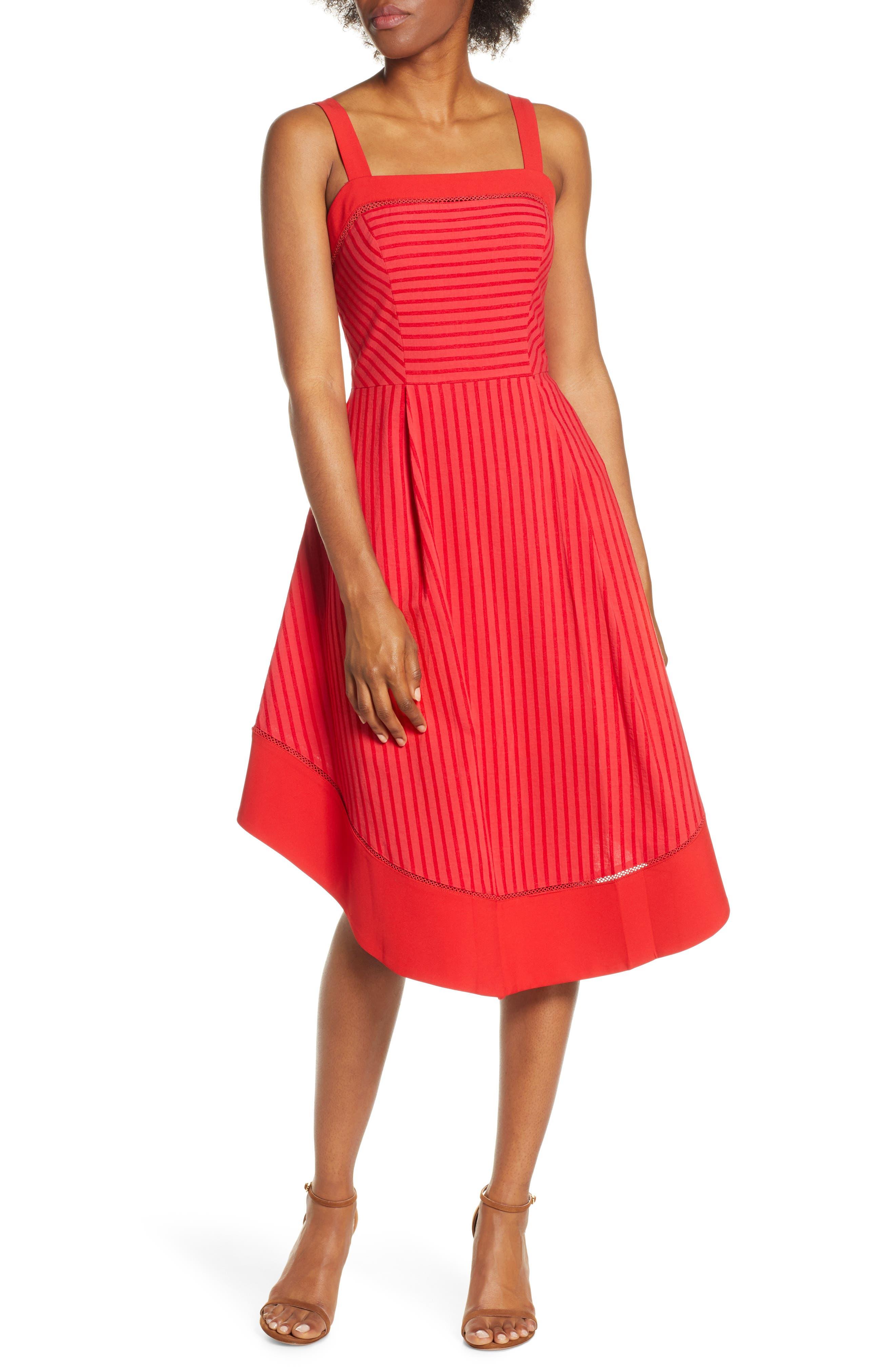 Adelyn Rae Cailin Stripe Midi Dress, Red