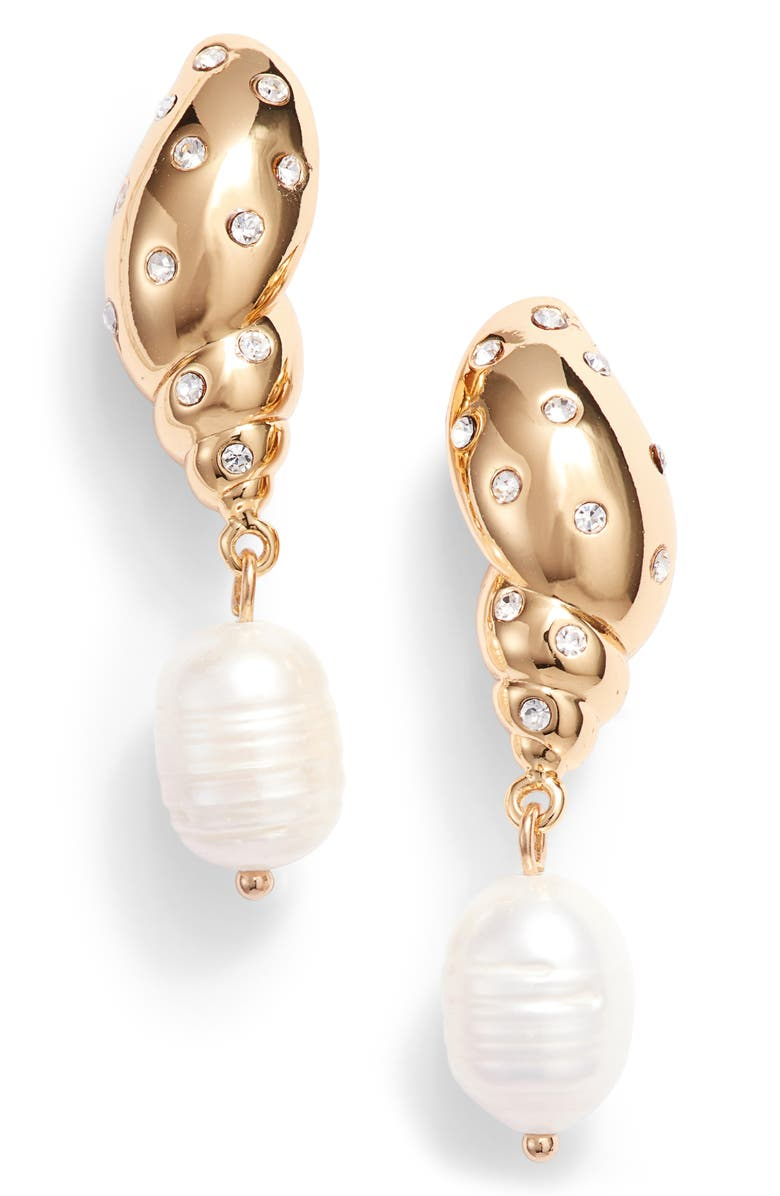 KATE SPADE NEW YORK under the sea studded tulip shell & pearl drop earrings, Main, color, 121