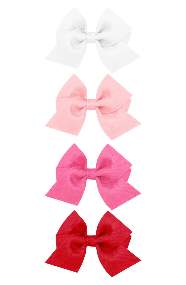 PLH BOWS Set of 4 Grosgrain Bow Hair Clips, Main, color, WHITE MULTI