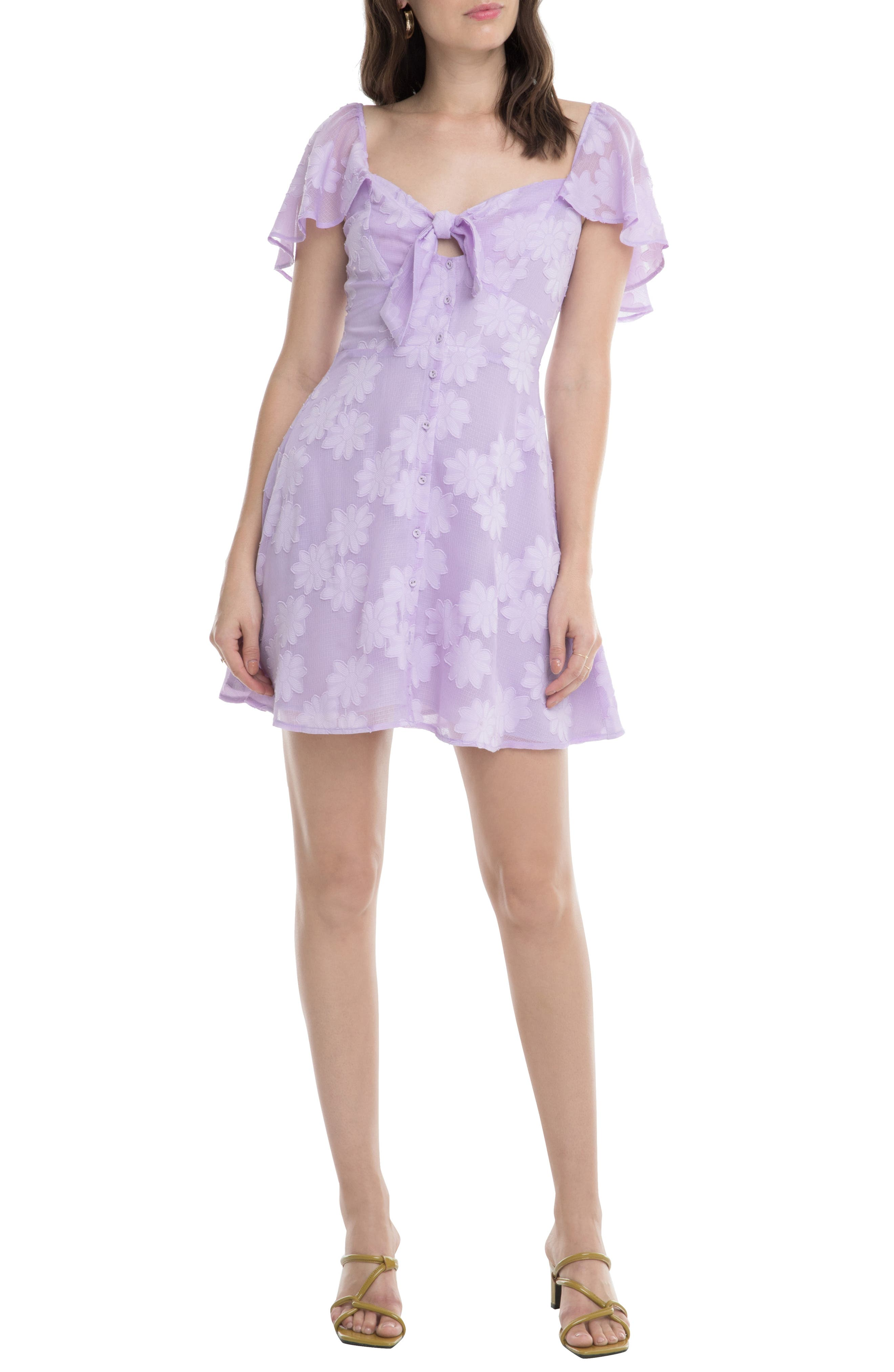 Astr The Label Rosalyn Front Button Flounce Minidress, Purple