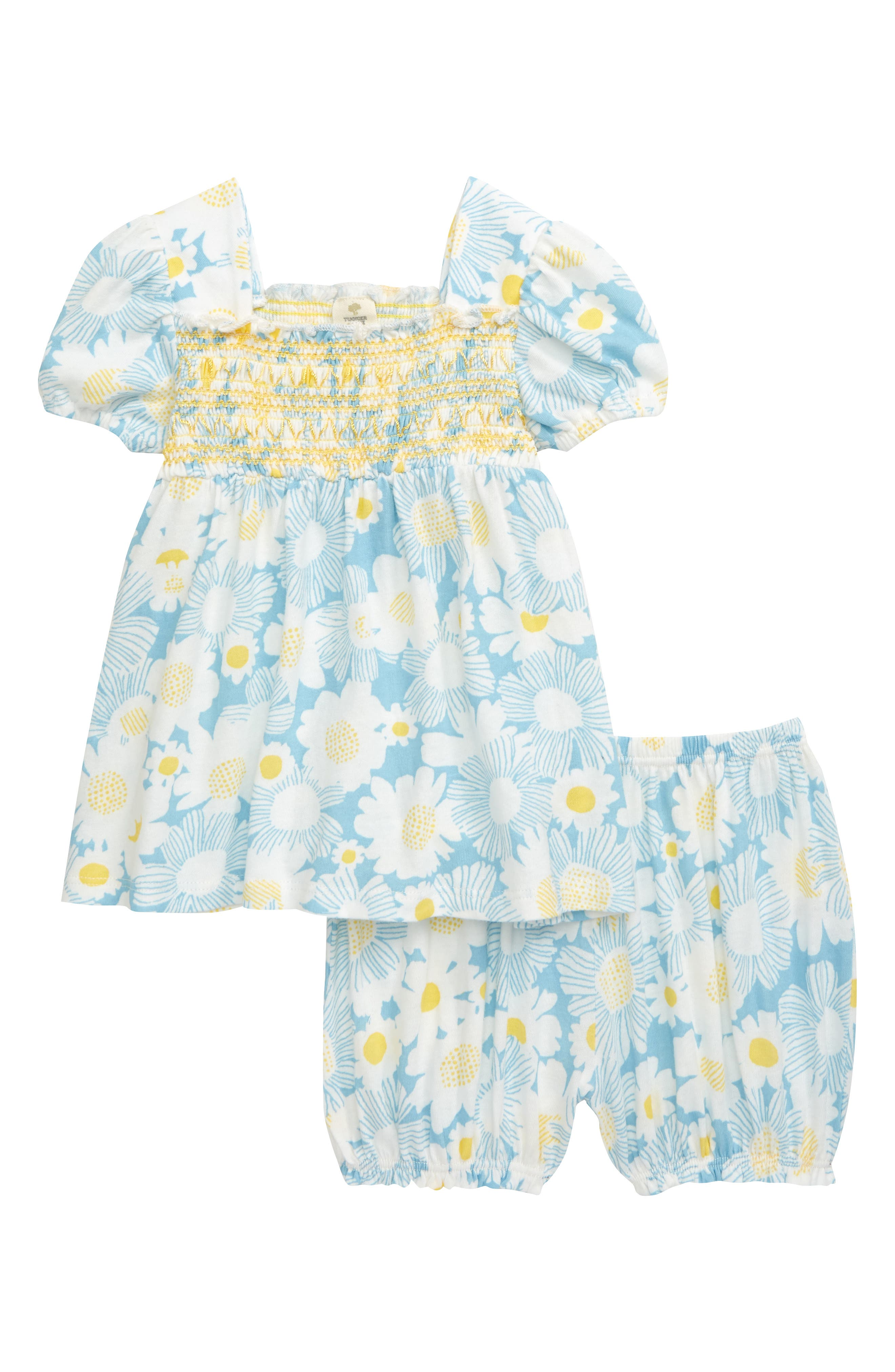 Cheery flowers pattern a summery cotton set featuring a smocked puff-sleeve top and coordinating shorts. Style Name: Tucker + Tate Puff Sleeve Top & Shorts Set (Baby). Style Number: 5958273. Available in stores.