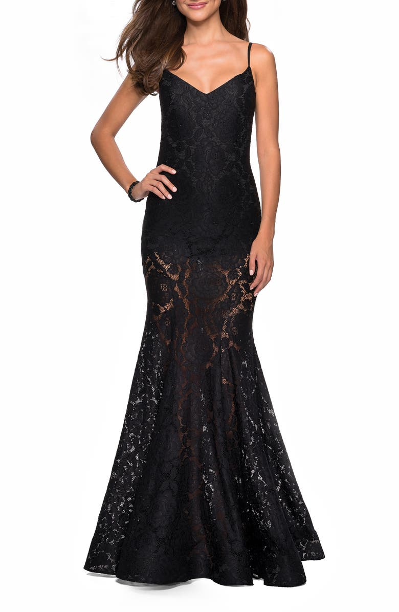 LA FEMME Stretch Lace Mermaid Evening Dress, Main, color, BLACK