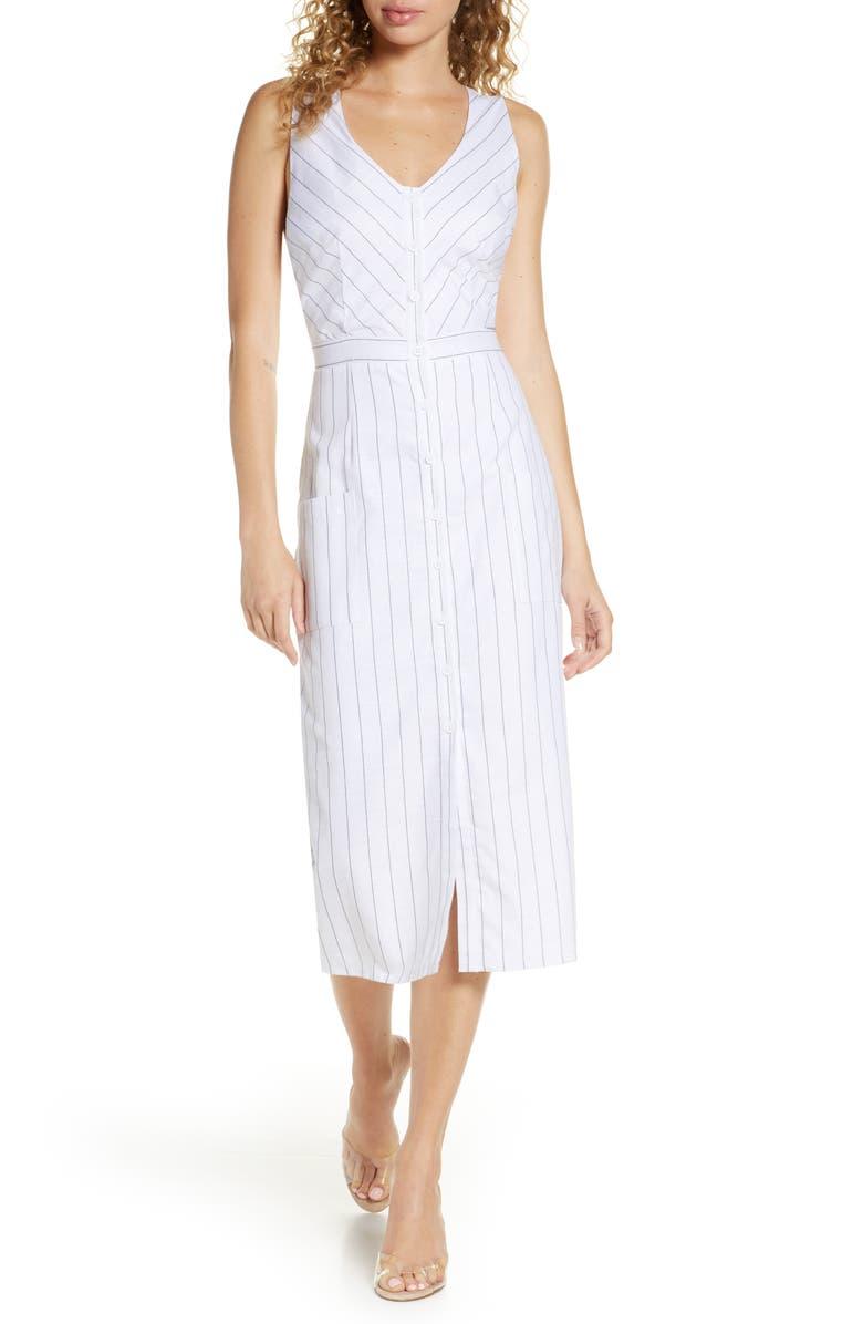 BB DAKOTA In the Swing Cotton Sheath Dress, Main, color, OPTIC WHITE