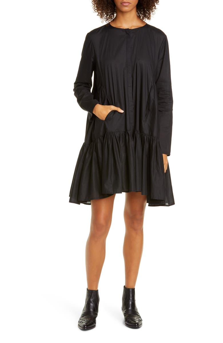 MERLETTE Martel Long Sleeve Cotton Tunic Dress, Main, color, BLACK