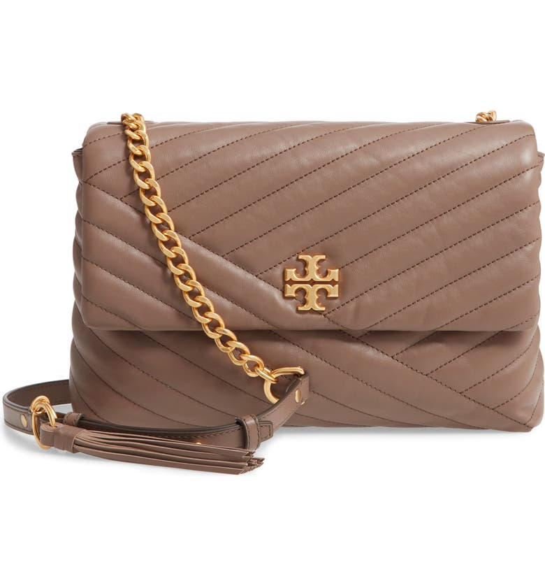 TORY BURCH Kira Chevron Quilted Leather Shoulder Bag, Main, color, CLASSIC TAUPE