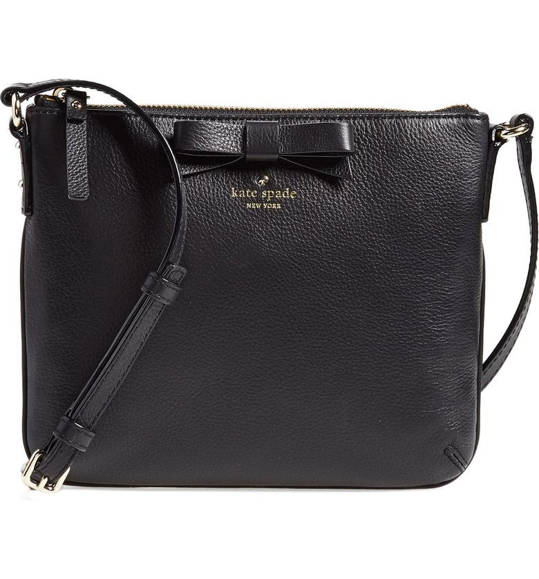 KATE SPADE NEW YORK 'north court - bow tenley' pebbled leather crossbody bag, Main, color, 001
