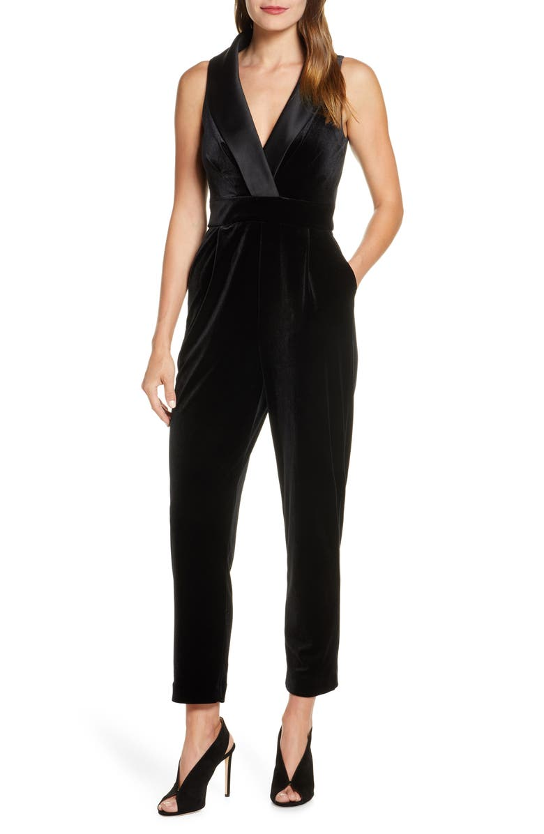 ELIZA J Sleeveless Velvet Jumpsuit, Main, color, BLACK