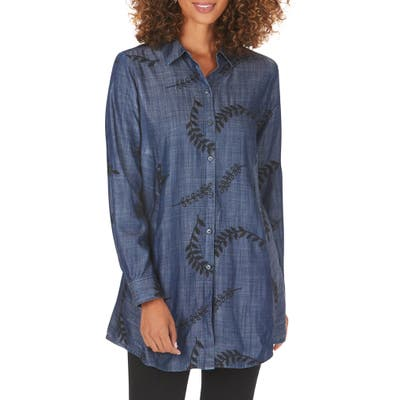 Foxcroft Cici Embroidered Tunic Shirt, Blue