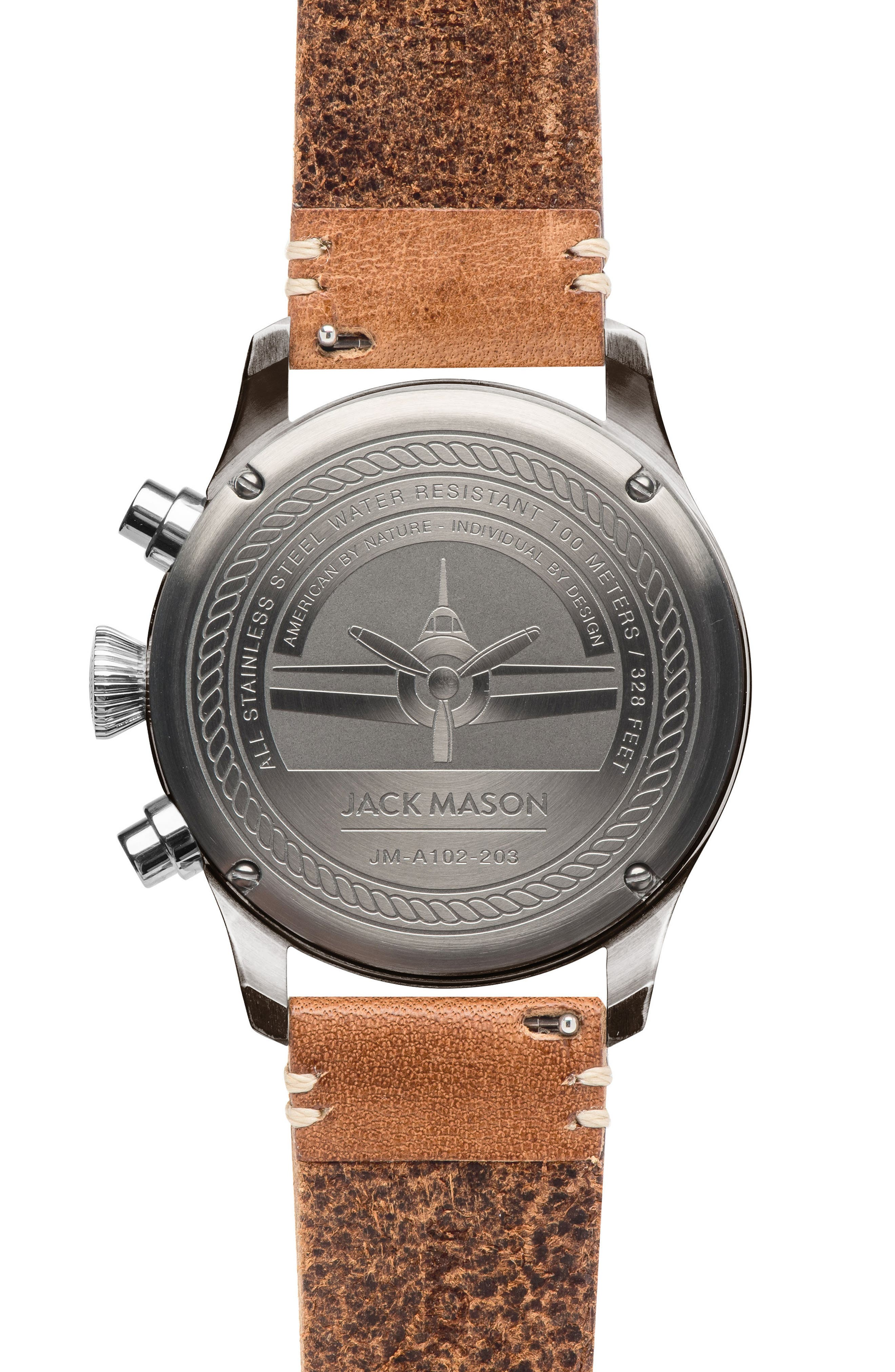 ,                             Brand Aviation Chronograph Watch, 42mm,                             Alternate thumbnail 2, color,                             GREY/ TAN