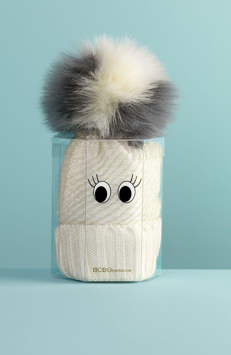 BCBG Faux Fur Pompom Knit Beanie, Main, color, 020