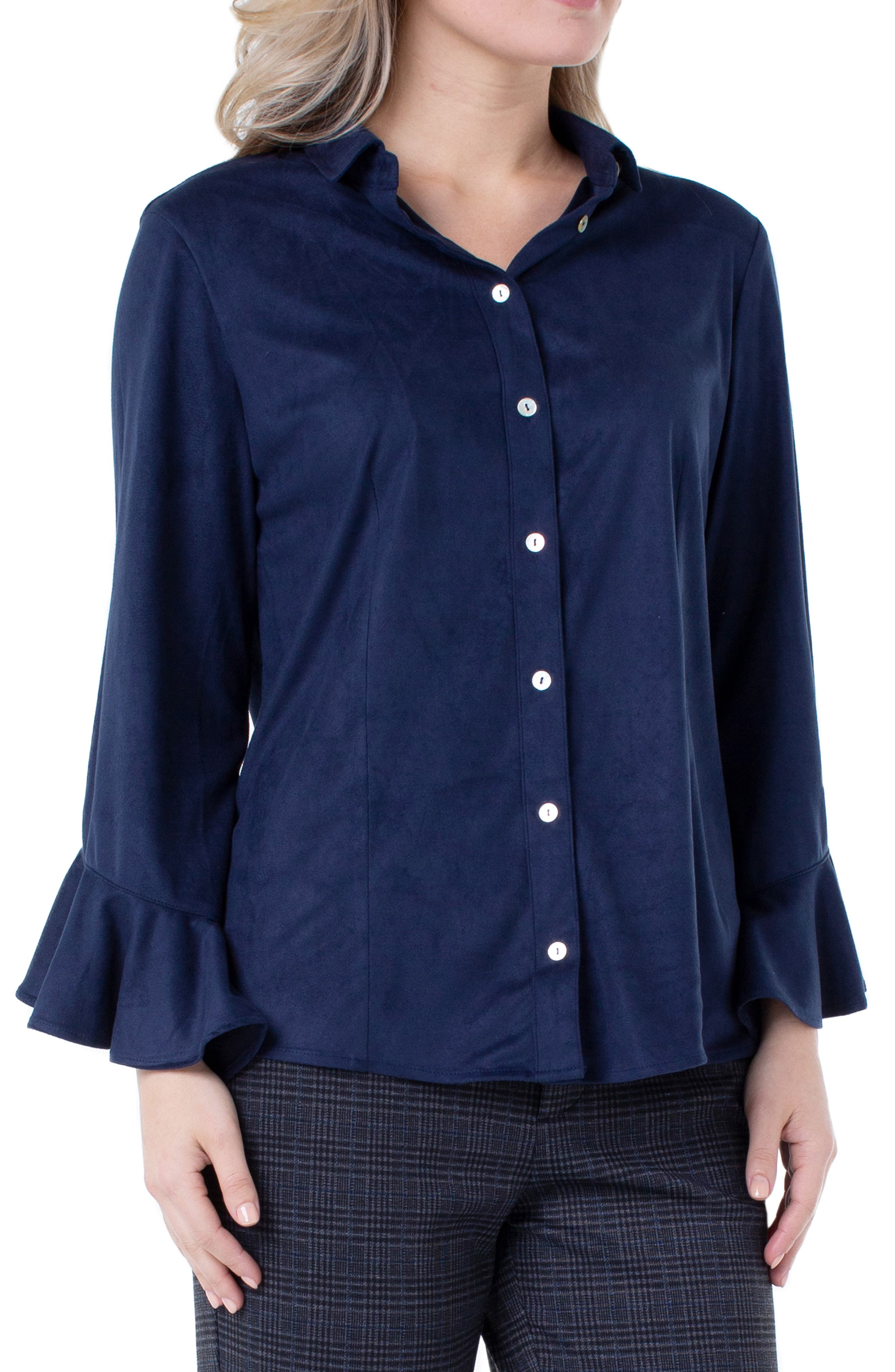 Image of Liverpool Jeans Co Button Front Ruffle Sleeve Shirt